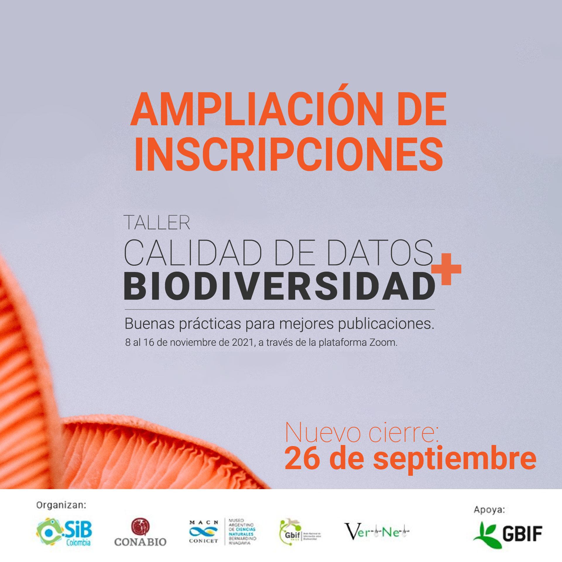 Convocatoria abierta Taller «Calidad de datos + biodiversidad»
